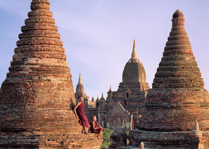 Child Greeting Card featuring the photograph Myanmar, Bagan, Buddhist Monks On Temple by Martin Puddy