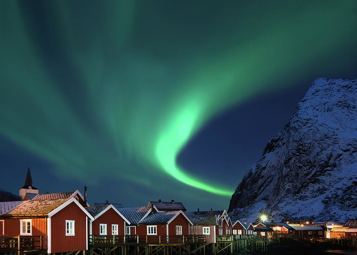 Scenics Greeting Card featuring the photograph Northern Lights - Aurora Borealis Over by Relaxfoto.de