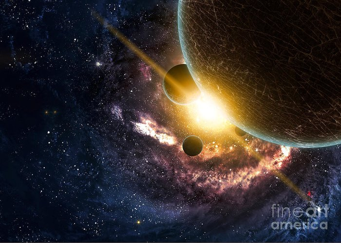 Harmony Greeting Card featuring the digital art Planets Over The Nebulae In Space by Vadim Sadovski