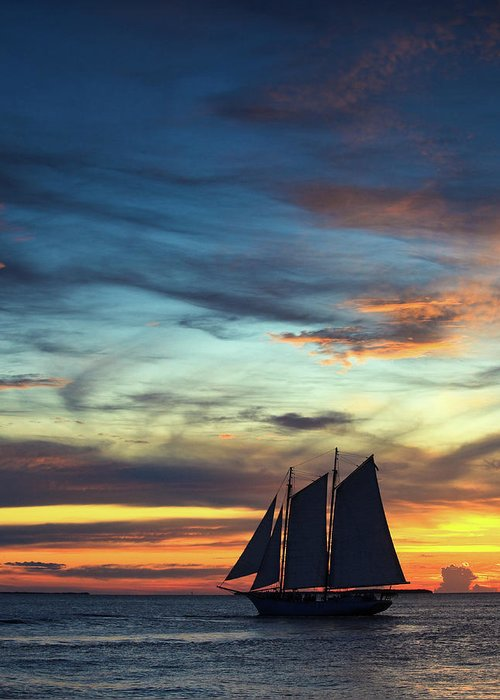 Sailboat Greeting Card featuring the photograph Sailboat At Sunset by Thepalmer