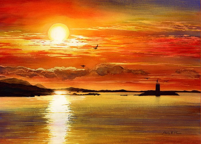 Sunset Greeting Card featuring the painting Sunset Lake by Hailey E Herrera