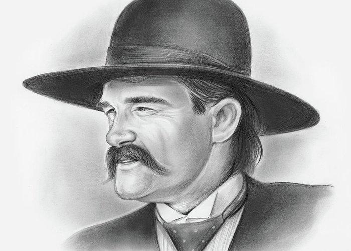 Cowboy Greeting Card featuring the drawing Wyatt Earp by Greg Joens