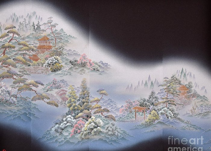 Greeting Card featuring the digital art Spirit of Japan T64 by Miho Kanamori