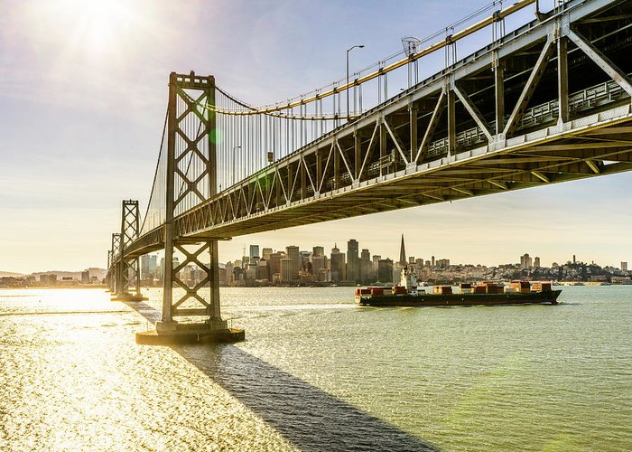 Scenics Greeting Card featuring the photograph Bay Bridge And Skyline Of San Francisco by Chinaface
