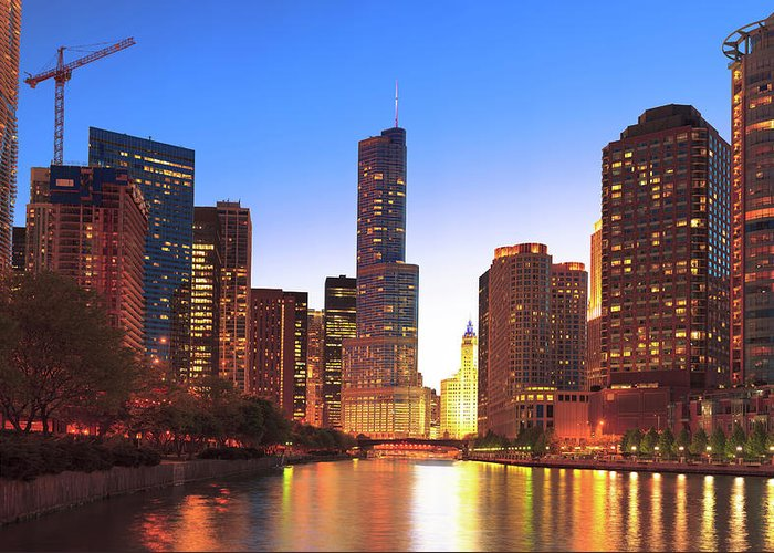 Chicago River Greeting Card featuring the photograph Chicago Downtown By Night by Pawel.gaul