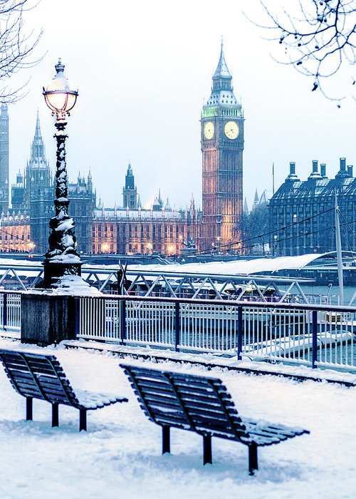 Clock Tower Greeting Card featuring the photograph Houses Of Parliament In The Snow by Doug Armand