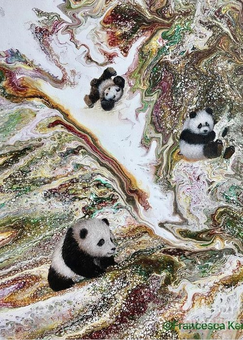 Panda Greeting Card featuring the painting 3 Little Pandas by Francesca Kee
