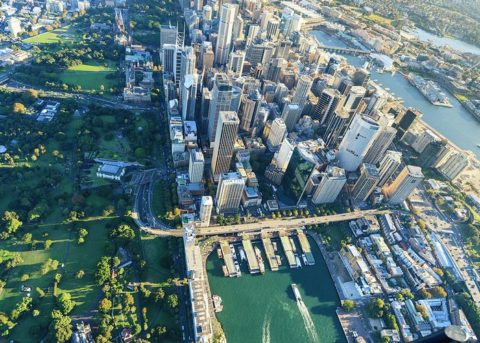 Shadow Greeting Card featuring the photograph Sydney Downtown - Aerial View by Btrenkel