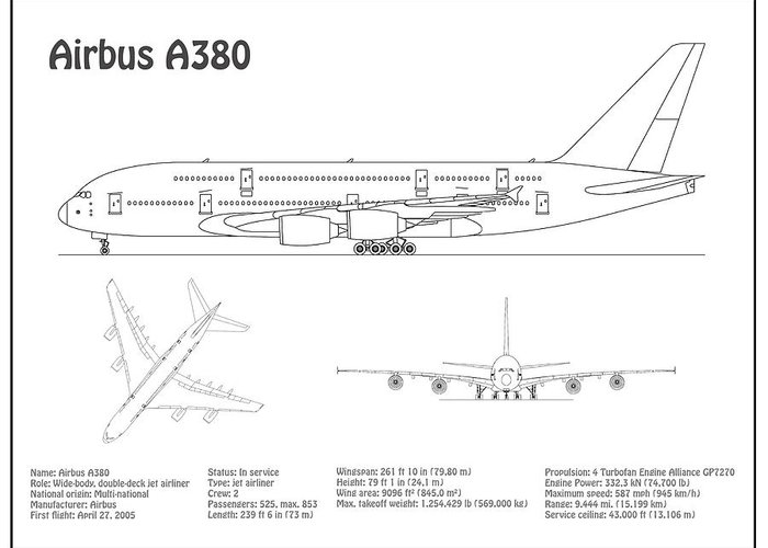 [XOTG_4463]  Airbus a380 - Airplane Blueprint. Drawing Plans or Schematics with design  outline for the Airbus a38 Greeting Card for Sale by StockPhotosArt Com | Airplane Schematics |  | Pixels