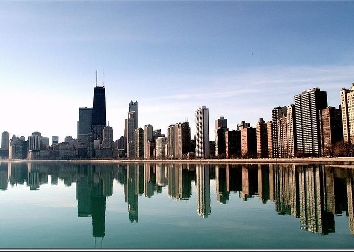 Lake Michigan Greeting Card featuring the photograph Chicago Skyline by J.castro