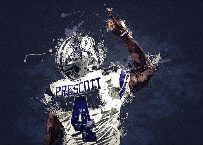 Dak Prescott Greeting Card featuring the digital art Dallas Cowboys.dak Prescott. by Nadezhda Zhuravleva