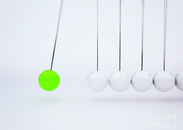 Newton Greeting Card featuring the photograph Newton's Cradle by Jesper Klausen/science Photo Library