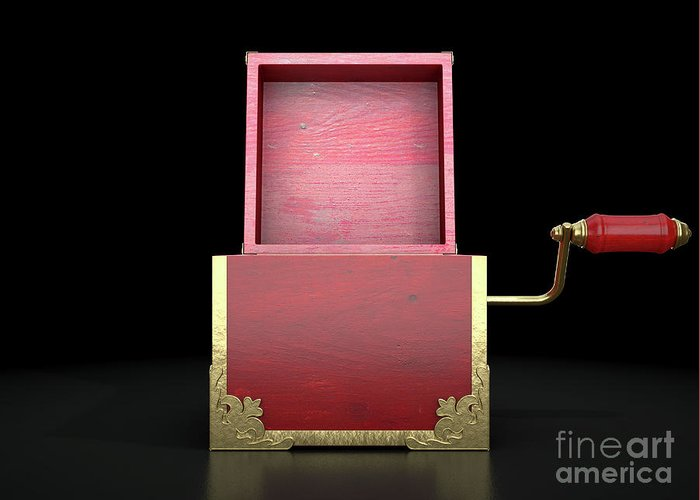 Box Greeting Card featuring the digital art Open Jack-in-the-box Antique by Allan Swart