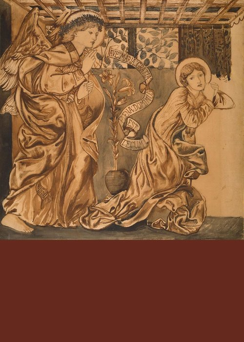 The Annunciation Greeting Card featuring the painting The Annunciation by Edward Burne-Jones