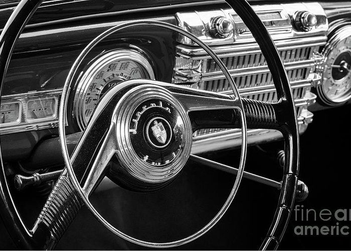 Lincoln Greeting Card featuring the photograph '47 Lincoln Continental Steering And Dash by Dennis Hedberg