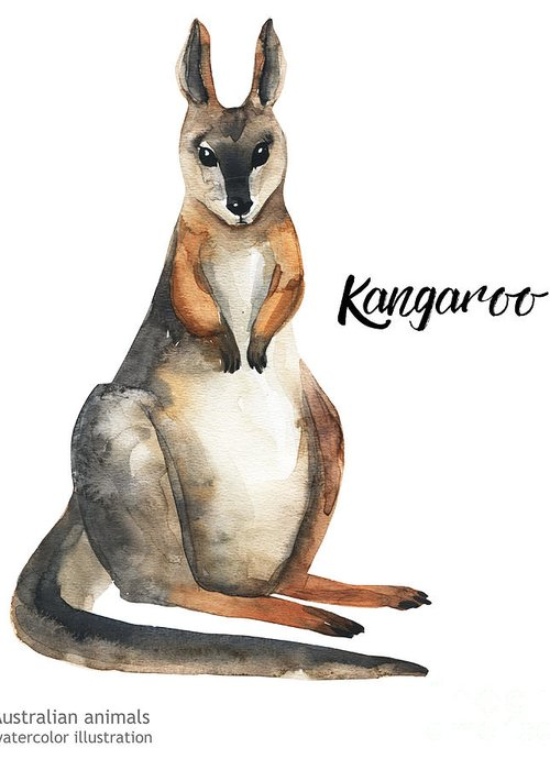 Forest Greeting Card featuring the digital art Australian Animals Watercolor by Kat branches