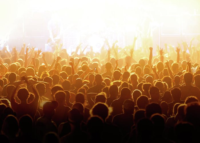 Rock Music Greeting Card featuring the photograph Concert Crowd by Alenpopov
