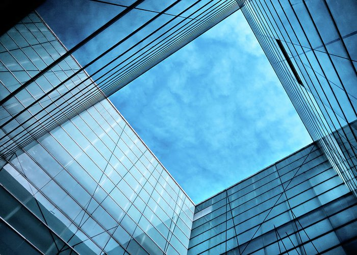 Office Greeting Card featuring the photograph Modern Glass Architecture by Nikada