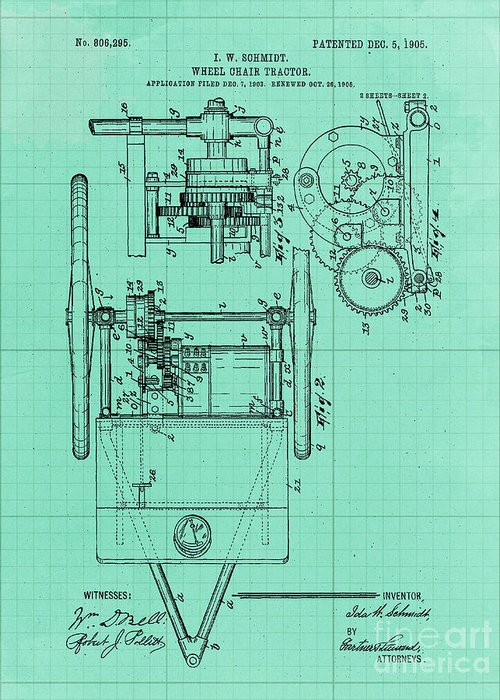 Art Greeting Card featuring the drawing Wheel Chair Tractor Sheet 2 Vintage Art Print Year 1905 Blueprint by Drawspots Illustrations