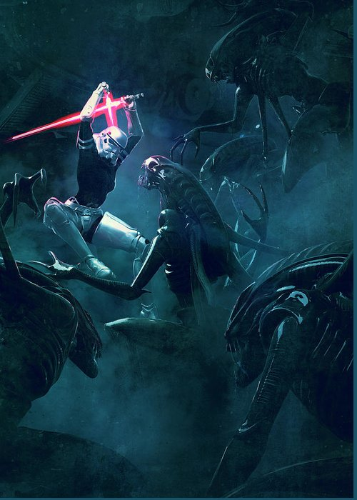 Star Wars Greeting Card featuring the digital art 501 Vs Aliens 3 by Guillem H Pongiluppi