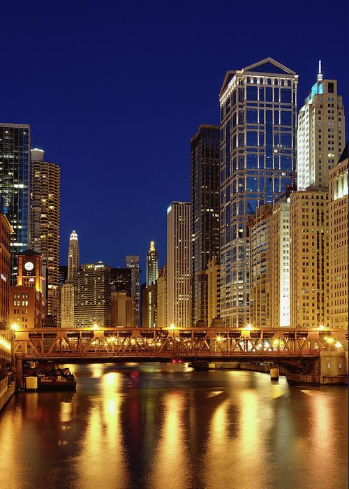 Chicago River Greeting Card featuring the photograph Chicago, Il by Adam Jones