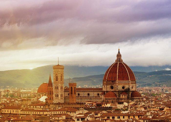 Palazzo Vecchio Greeting Card featuring the photograph Florence, Santa Maria Del Fiore by Deimagine