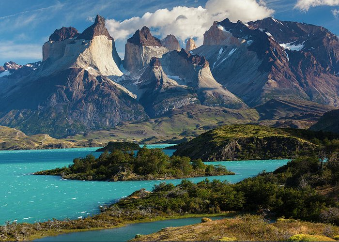 Scenics Greeting Card featuring the photograph Chile, Torres Del Paine National Park by Walter Bibikow