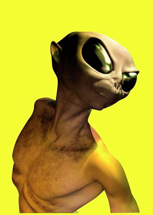 Looking Over Shoulder Greeting Card featuring the digital art Alien, Artwork by Victor Habbick Visions