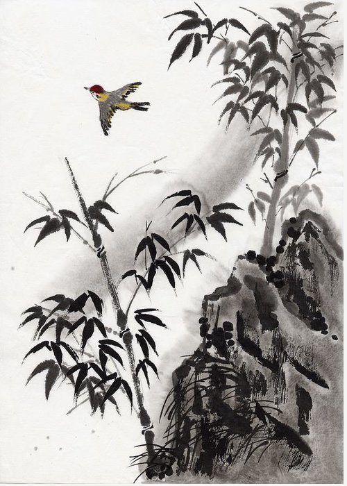Scenics Greeting Card featuring the digital art A Bird And Bamboo Leaves, Ink Painting by Daj