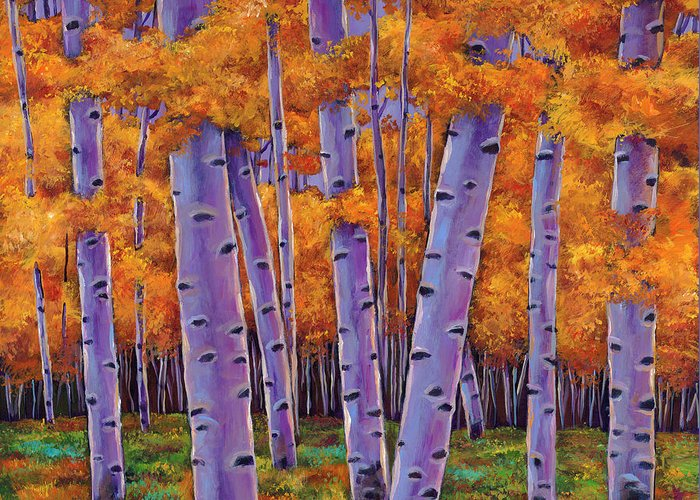 Aspen Trees Greeting Card featuring the painting A Chance Encounter by Johnathan Harris
