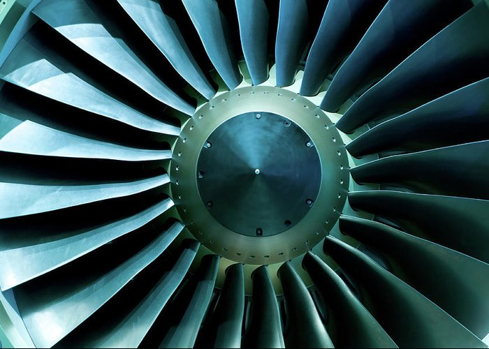 Material Greeting Card featuring the photograph A Close Of Up A Turbine Showing The by Brasil2