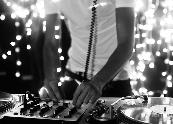 Play Greeting Card featuring the photograph A Cool Male Dj On The Turntables by Dubassy