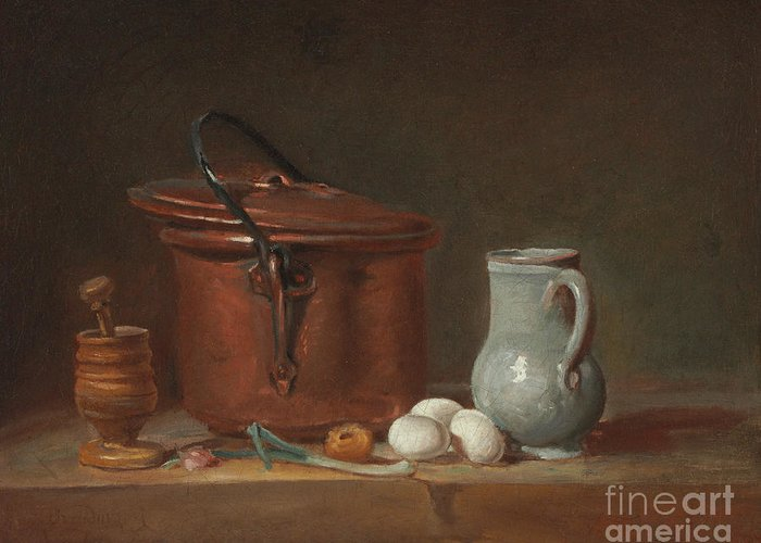 A Copper Saucepan Greeting Card featuring the painting A Copper Saucepan, A Pestle And Mortar, A Pitcher, A Scallion, Eggs And An Onion On A Shelf by Jean-Baptiste Simeon Chardin