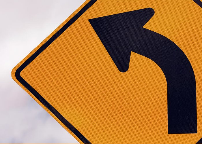 Curve Greeting Card featuring the photograph A Curve Ahead Road Sign Warning by Martin Ruegner