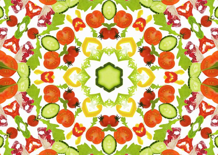 White Background Greeting Card featuring the photograph A Kaleidoscope Image Of Salad Vegetables by Andrew Bret Wallis
