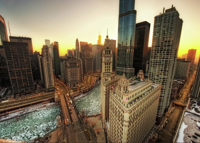 Chicago River Greeting Card featuring the photograph A Long Sunset In The Emerald City by Justin W. Kern