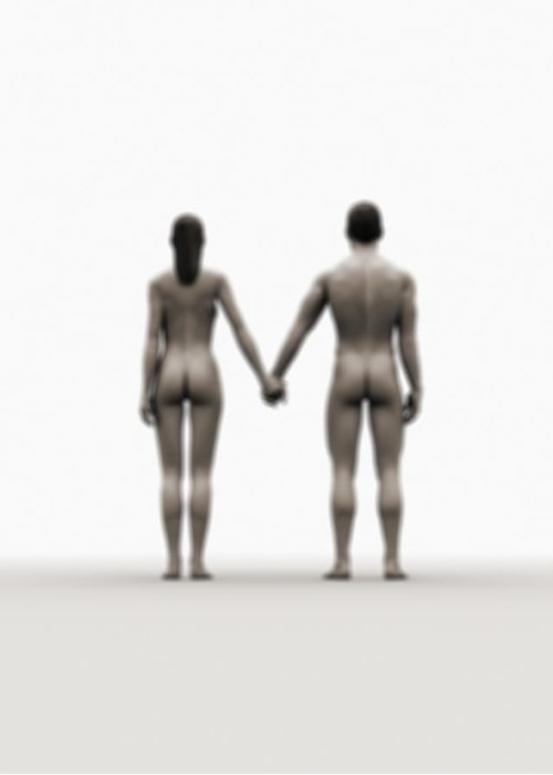 Heterosexual Couple Greeting Card featuring the digital art A Naked Couple Holding Hands by Jorg Greuel