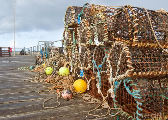 Rope Greeting Card featuring the photograph A Selection Of Lobster Pots On The by Djtaylor