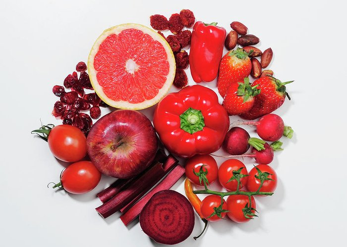 White Background Greeting Card featuring the photograph A Selection Of Red Fruits & Vegetables by David Malan