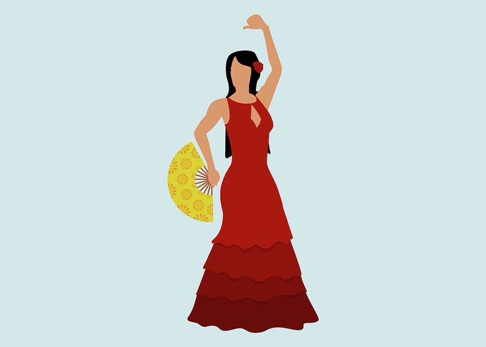 Human Arm Greeting Card featuring the digital art A Stereotypical Spanish Woman Dressed by Ralf Hiemisch