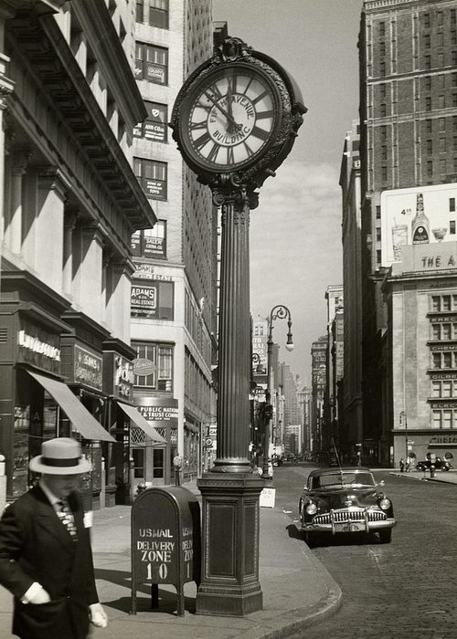 Public Mailbox Greeting Card featuring the photograph A Street Clock On Fifth Ave., Nyc by George Marks
