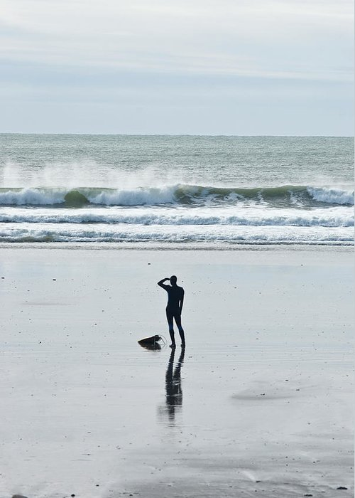 Young Men Greeting Card featuring the photograph A Surfer Watches The Waves Before by Mark Marchesi