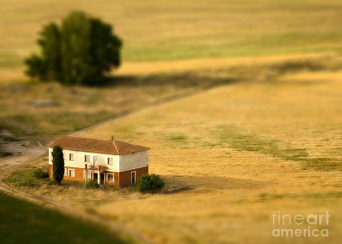Farmhouse Greeting Card featuring the photograph A Tilt Shifted Country House On A by Ikerlaes
