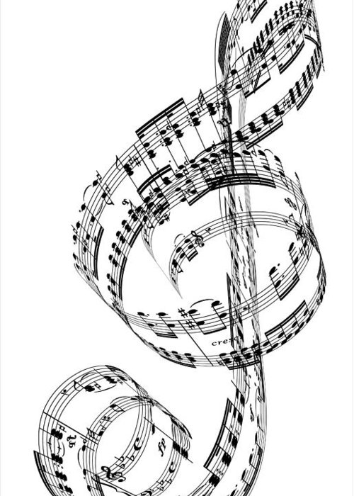Sheet Music Greeting Card featuring the digital art A Treble Clef Made From Beethovens by Ian Mckinnell