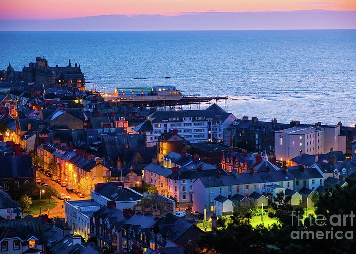 Aberystwyth Greeting Card featuring the photograph Aberystwyth At Night by Keith Morris