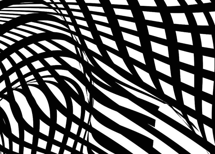 Curve Greeting Card featuring the digital art Abstract Black And White Stripe Shape by Shuoshu