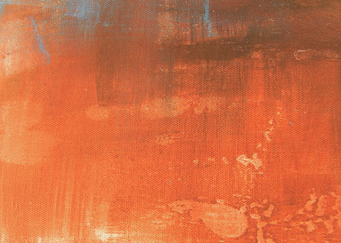 Abstract Greeting Card featuring the painting Abstract In Orange by Jocelyn Friis