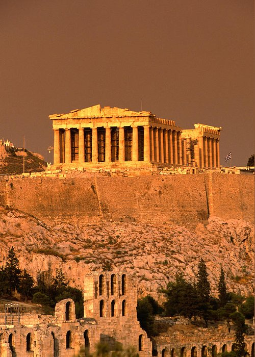 Greek Culture Greeting Card featuring the photograph Acropolis And Parthenon From Filopappou by Lonely Planet