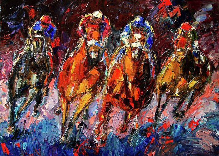 Horse Race Greeting Card featuring the painting Adrenalin by Debra Hurd