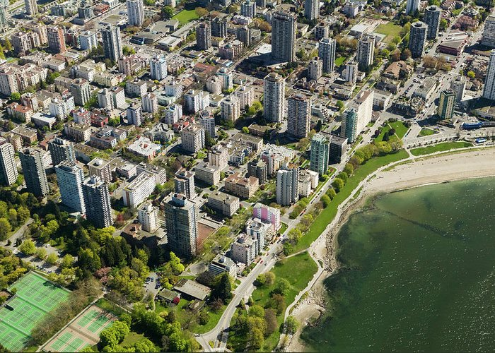 Outdoors Greeting Card featuring the photograph Aerial Of West End, Vancouver by Lucidio Studio, Inc.